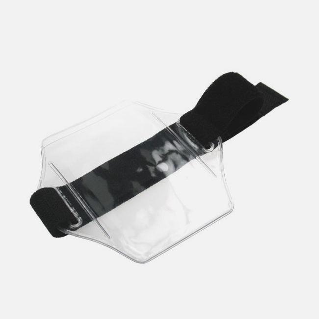 Vinyl Asjustable Armband Wallet Black