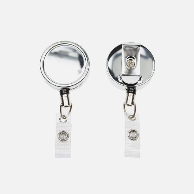 Chrome Heavy Duty Card Reel With Strap