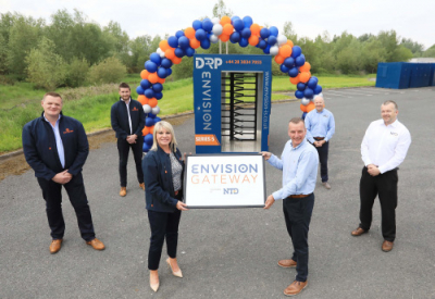 Pictured at the launch of the new turnstile are from left: Envision team Philip Murdock, Graeme McCandless and Amanda Campbell with the team from NTD Stephen Brown, Mike Wiseman and Darron Pressley.
